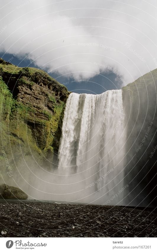 Nature Water Clouds Large Rock Tall Exceptional Iceland Waterfall