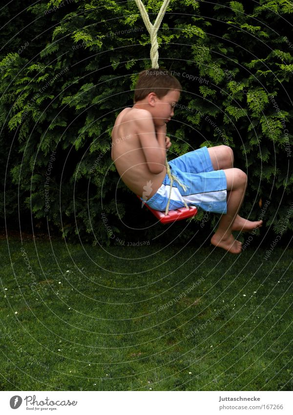 wire waberl Boy (child) lads Child Infancy Swing To swing Rotate Toys Playing soccer field To hold on clasp Stop Joy Funny Children's game Garden Grass Meadow