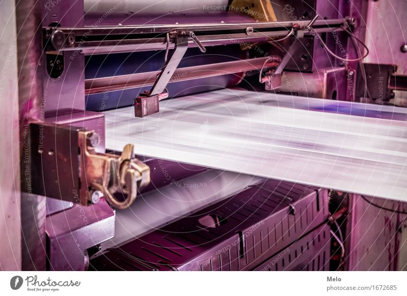 Web offset I Printer Machinery Printing machine Technology Metal Illuminate Dark Cliche Violet Pink Power Diligent Performance Colour photo Copy Space top