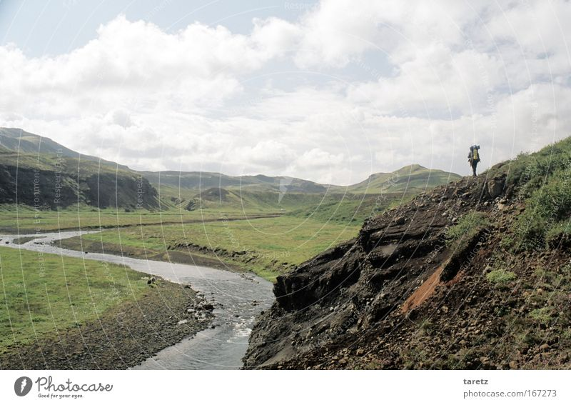 Lonely Wanderer Adventure Far-off places Freedom 1 Human being Nature Landscape Hill Mountain Valley River Discover Going Hiking Infinity Uniqueness Natural