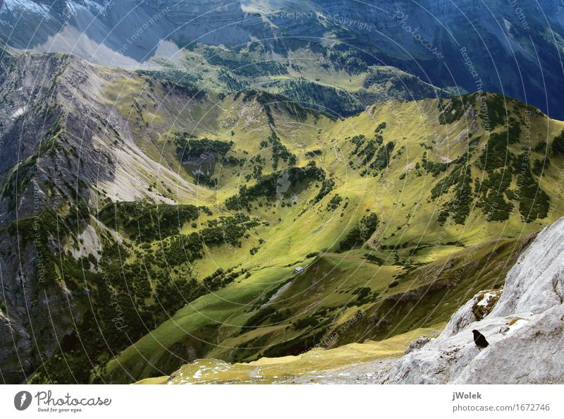 View from summit to alpine pasture in the Alps (Karwendel) Relaxation Calm Vacation & Travel Adventure Freedom Mountain Hiking Climbing Mountaineering Nature