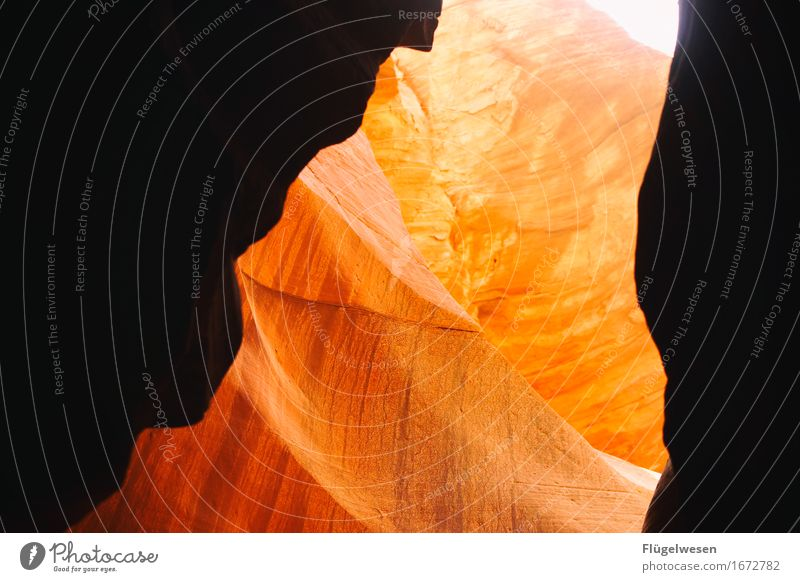 Upper Antelope Canyon [4] Vacation & Travel Tourism Trip Hill Rock Mountain Desert Stone Sand Colour Play of colours Colour palette Blaze of colour Wall of rock