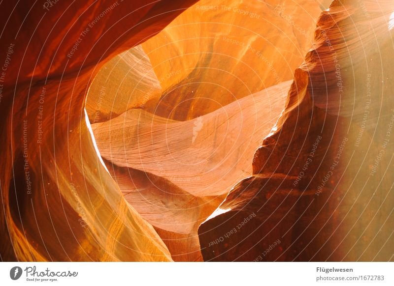 Upper Antelope Canyon [8] Vacation & Travel Tourism Trip Hill Rock Mountain Stone Sand Touch Sharp-edged USA Americas Wall of rock Ledge Cervice Play of colours