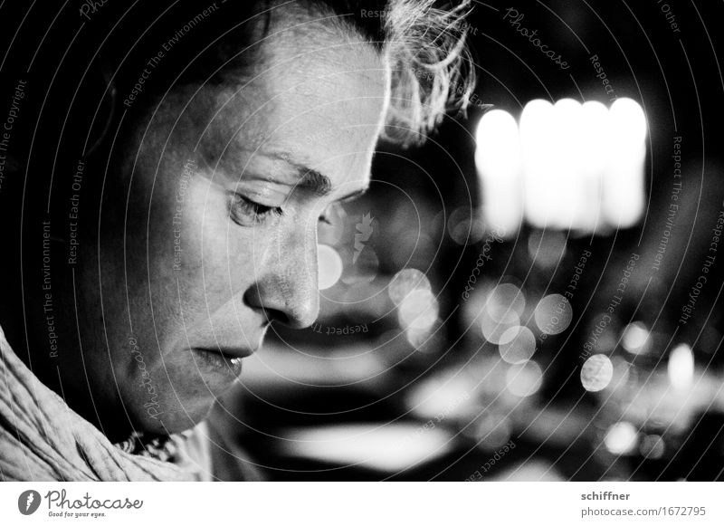 AST 9 | All night long II Human being Feminine Woman Adults Head Face 1 30 - 45 years Looking Meditative Think Sadness Portrait photograph Thought Light