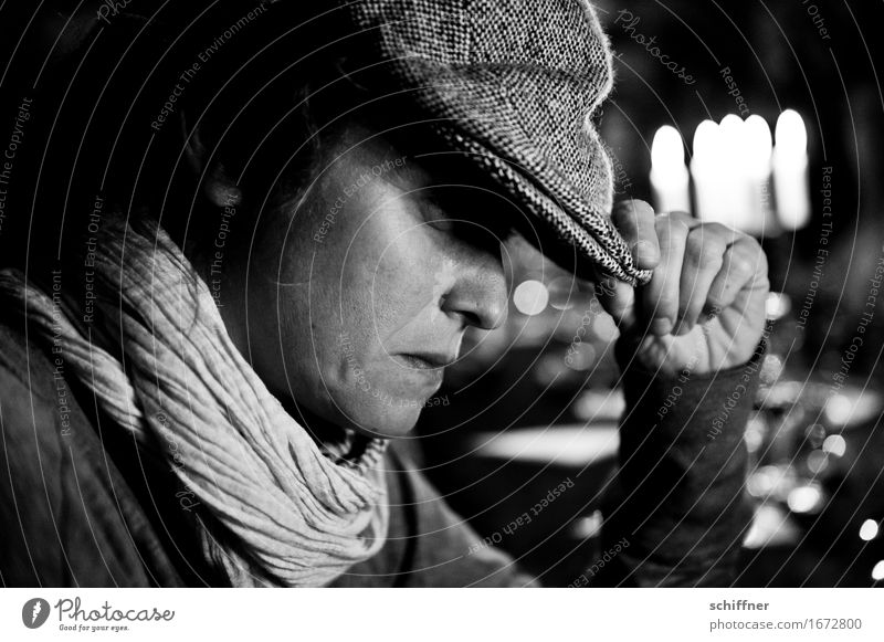 AST 9 | All night long Human being Feminine Young woman Youth (Young adults) Woman Adults Head Hand 1 30 - 45 years Black White Cap Scarf Meditative Think