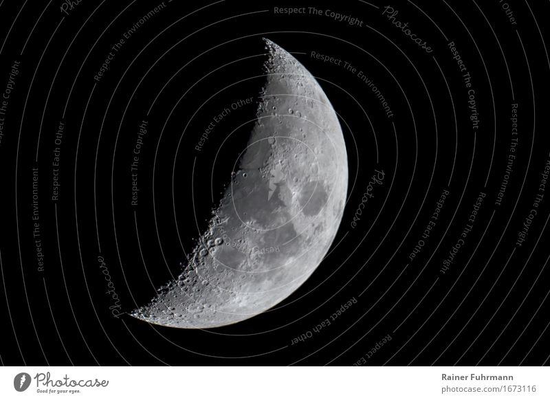 "the waxing moon in the night sky Nature Landscape Sky Night sky Stars Moon Stone Power ""increasingly crater Shadow"" Subdued colour Exterior shot"