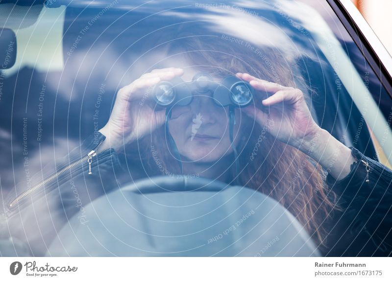 "Observations, with binoculars out of a car Human being Feminine 1 Means of transport Motoring Car Red-haired Binoculars Observe ""Detective spy peer spy out"