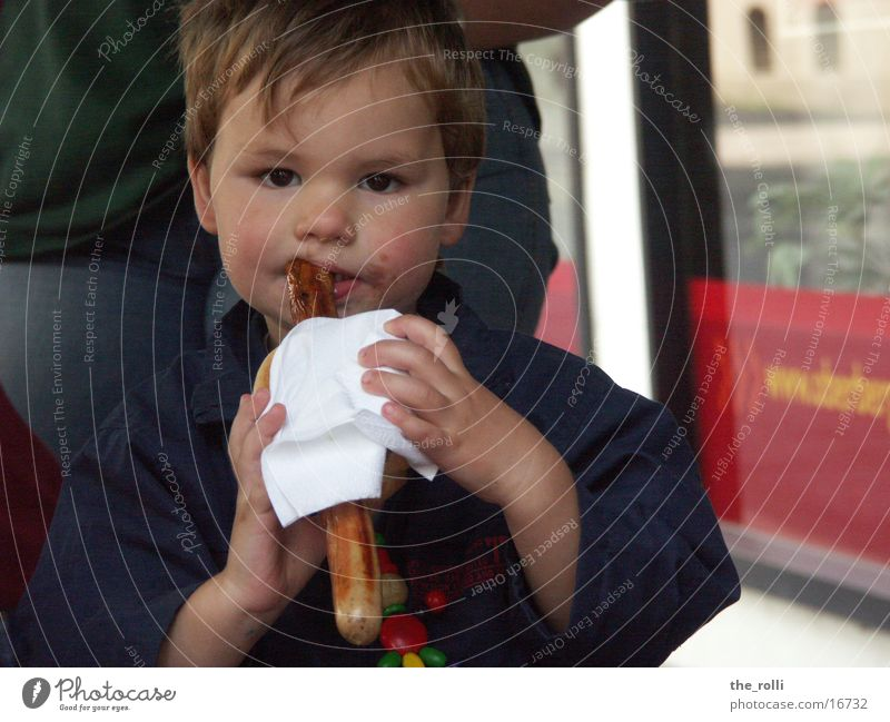 Child Man Boy (child) Nutrition Barbecue (event) Sausage Meat Street party