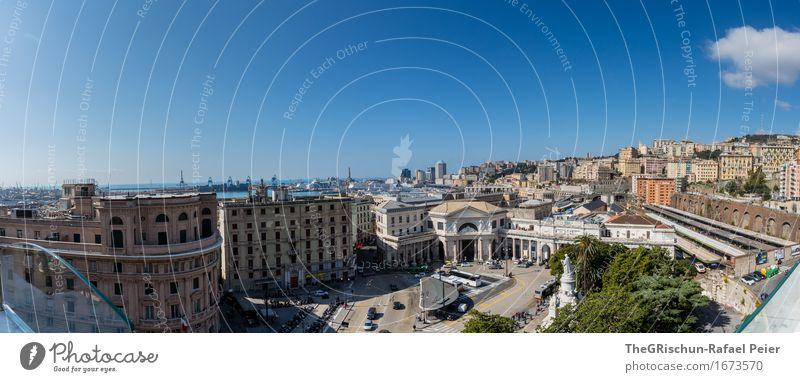 Genoa Town Port City House (Residential Structure) Dream house Manmade structures Building Architecture Facade Blue Brown Genua Italy Vacation & Travel