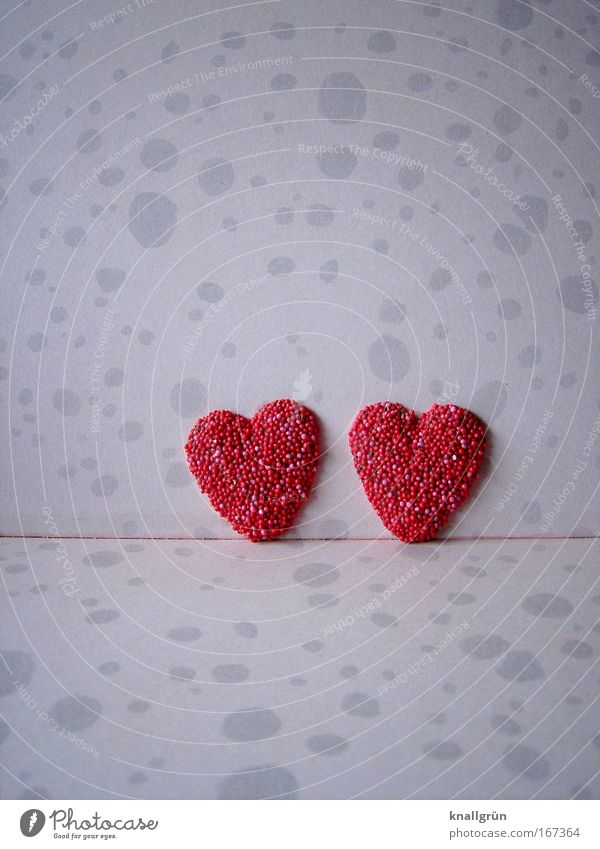 Beautiful Red Love Couple 2 Together Heart Pink In pairs Kitsch Sign Relationship Attachment Sympathy Valentine's Day