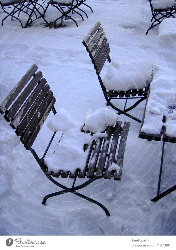 Beer garden in deep sleep Colour photo Subdued colour Exterior shot Deserted Day Going out Cold Brown White Anticipation Expectation Wait Snow layer Winter