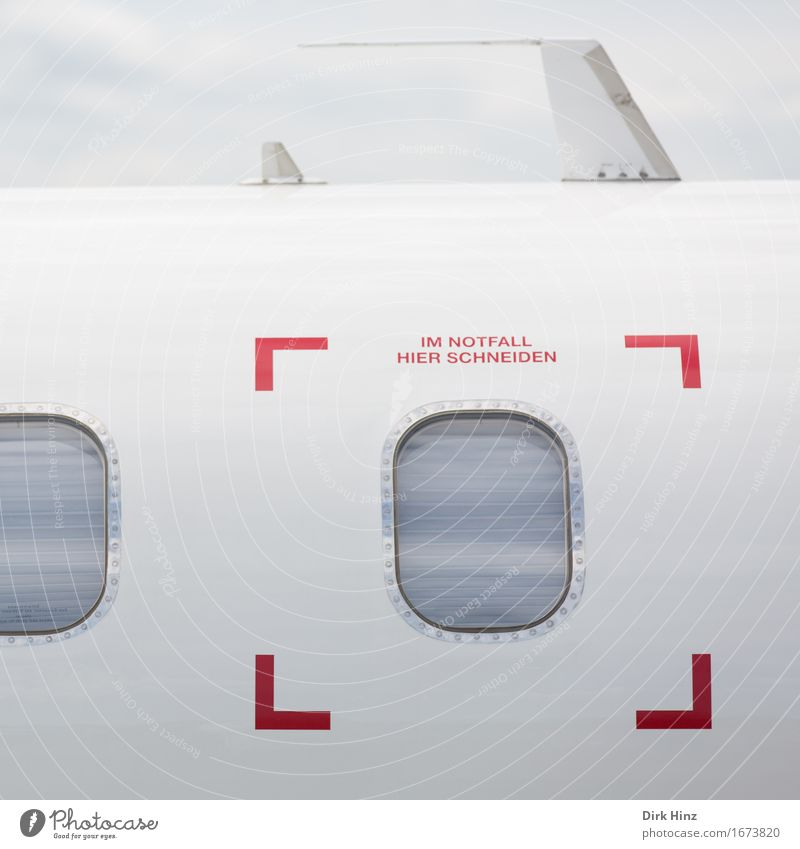 In case of emergency: cutting Machinery Technology Advancement Future High-tech Aviation Airplane Passenger plane Aircraft Airport Sign Characters