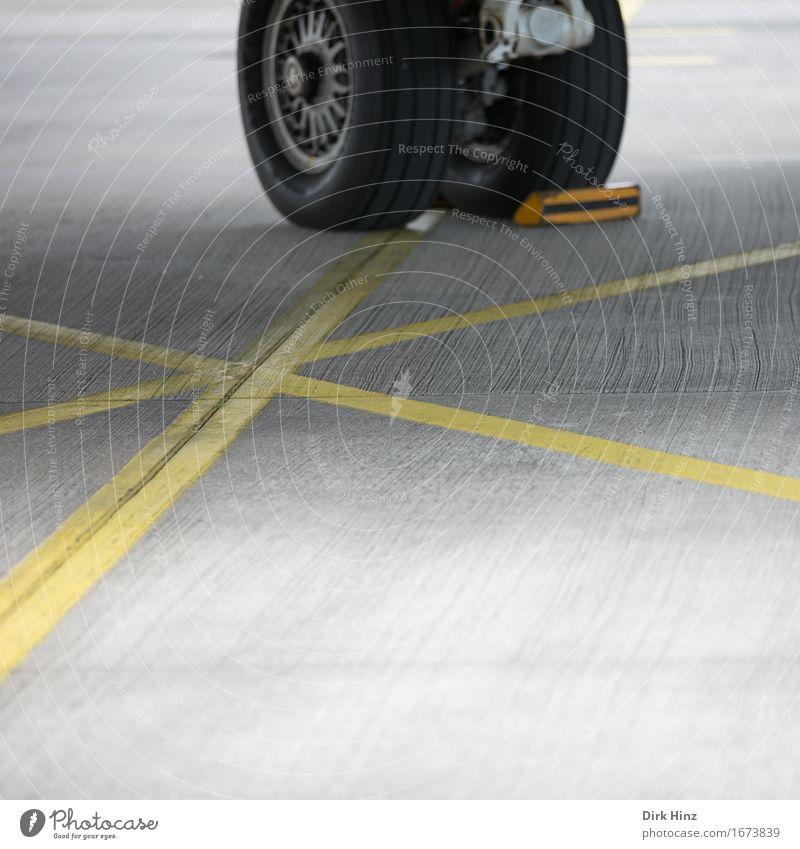 Yellow Transport Arrangement Aviation Technology Wait Future Airplane Round Break Airplane landing Wheel Traffic infrastructure Passenger traffic Airport Tire