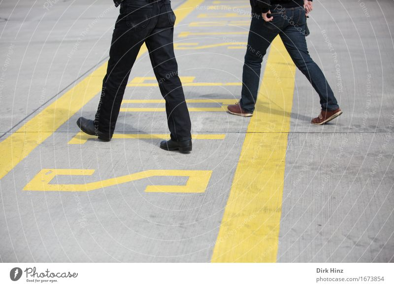 border transgression 2 Human being Aviation Airport Airfield Going Walking Bans Border Border crossing Stop Stop sign Ignore Exceed Line Runway Safety