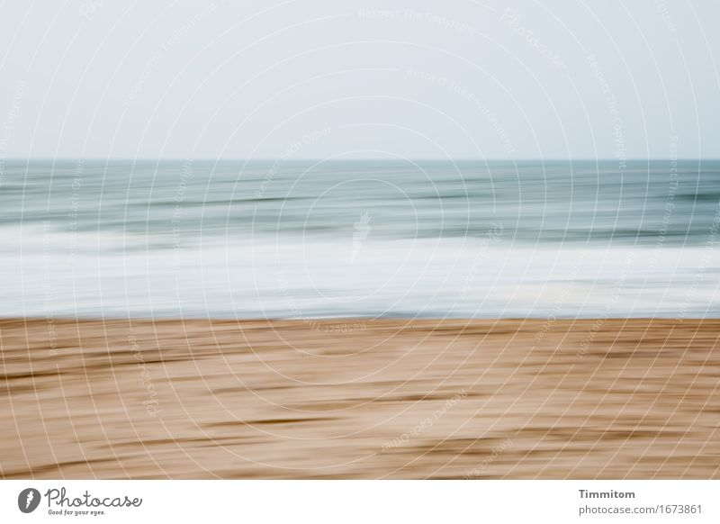 Four shifts. Vacation & Travel Environment Nature Elements Sand Water Sky Beach North Sea Denmark Esthetic Blue Brown Gray White Waves White crest Colour photo