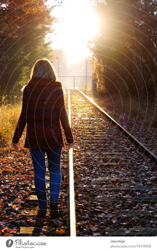 Human being Woman Nature Youth (Young adults) Young woman Sun Landscape Adults Environment Life Autumn Lanes & trails Feminine Going Contentment Future