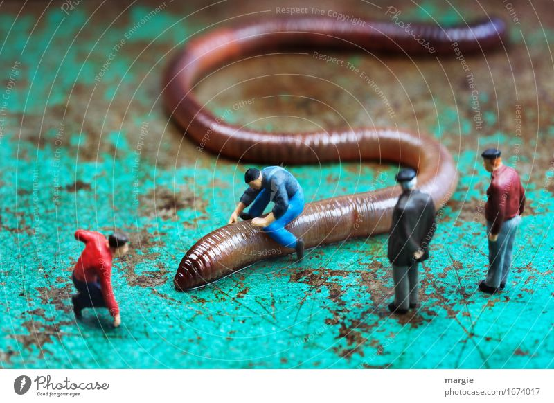 Miniwelten - Worm Rider 500 Masculine Man Adults 4 Human being Animal Wild animal Brown Turquoise Audience Earthworm Practice Landscape format Miniature Figure