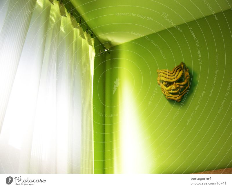 Green wall with mask Room Window Native Americans Light Curtain Living or residing Mask