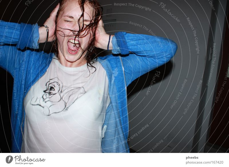 silent shout Woman Wet Rain Scream Loud Evening Night Flash photo Hair and hairstyles Face Vest Aggression Curl Exterior shot