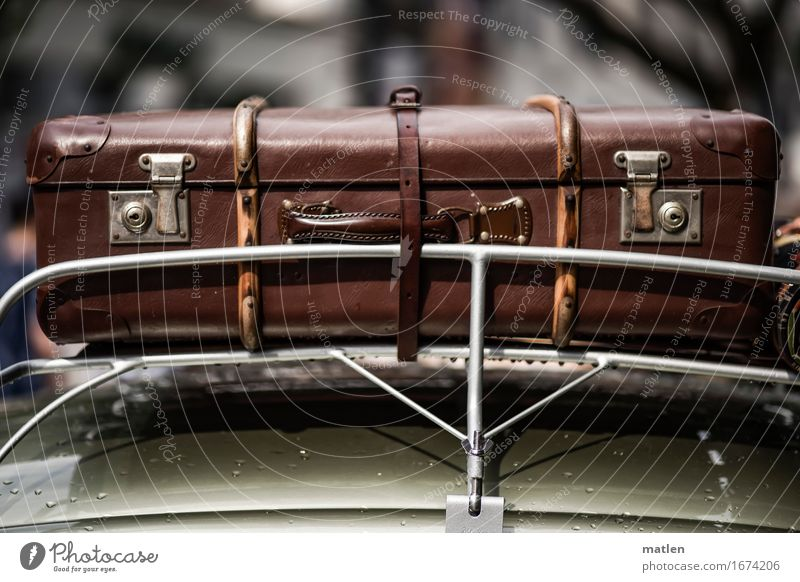 I have another suitcase in Berlin. Passenger traffic Motoring Car Lie Old Brown Gray Green Car roof luggage carrier Suitcase buckle Lock straps Vacation mood