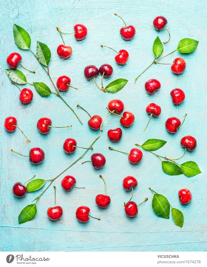 Sweet cherry pattern with green leaves Food Fruit Dessert Nutrition Organic produce Vegetarian diet Diet Style Design Healthy Eating Life Summer Nature Sign