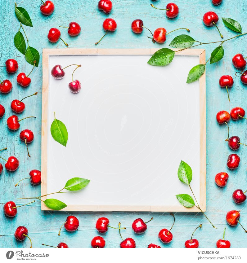 Beautiful ripe sweet cherries with leaves around white board Food Fruit Dessert Nutrition Breakfast Picnic Organic produce Vegetarian diet Diet Juice Style