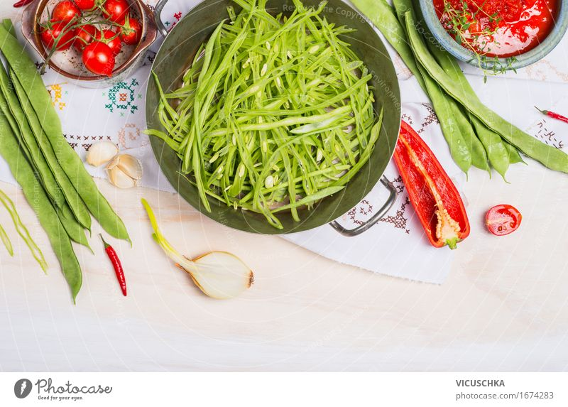 Sliced green beans Food Vegetable Herbs and spices Nutrition Banquet Organic produce Vegetarian diet Diet Crockery Pot Style Design Healthy Healthy Eating Life