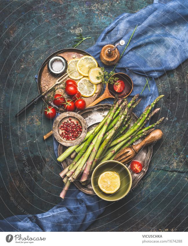 Delicious asparagus with tomatoes cook Food Vegetable Lettuce Salad Herbs and spices Nutrition Lunch Dinner Buffet Brunch Picnic Organic produce Vegetarian diet