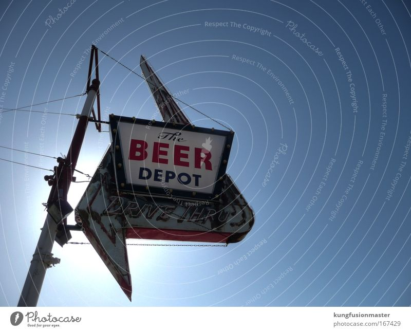 Beer depot, during the day Colour photo Exterior shot Neutral Background Day Light Sunlight Back-light Upward Design Alcoholic drinks Night life Entertainment