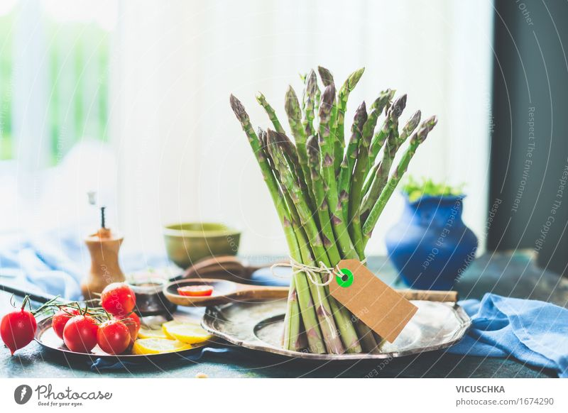 Asparagus with ingredients on the kitchen table at the window Food Vegetable Lettuce Salad Herbs and spices Nutrition Lunch Organic produce Vegetarian diet Diet