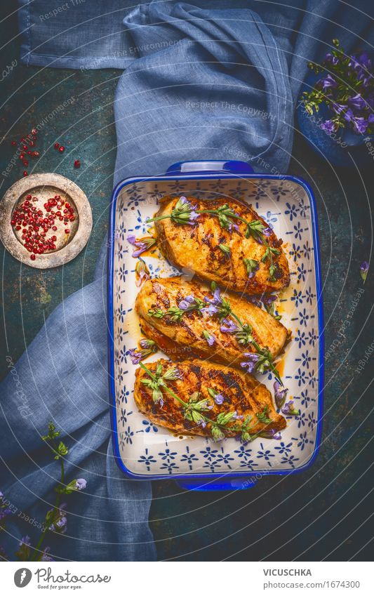 Honey glazed chicken breast and fresh herbs Food Meat Herbs and spices Cooking oil Nutrition Lunch Dinner Buffet Brunch Banquet Organic produce Diet Bowl Style