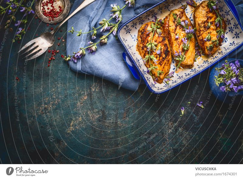 Glazed chicken breast with balsamic vinegar and herbs Food Meat Herbs and spices Cooking oil Nutrition Lunch Dinner Banquet Organic produce Diet Crockery Bowl