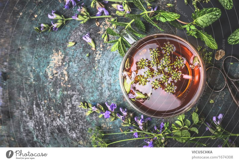 Cup of herbal tea on a dark background Food Herbs and spices Beverage Hot drink Tea Style Design Healthy Health care Alternative medicine Healthy Eating Life