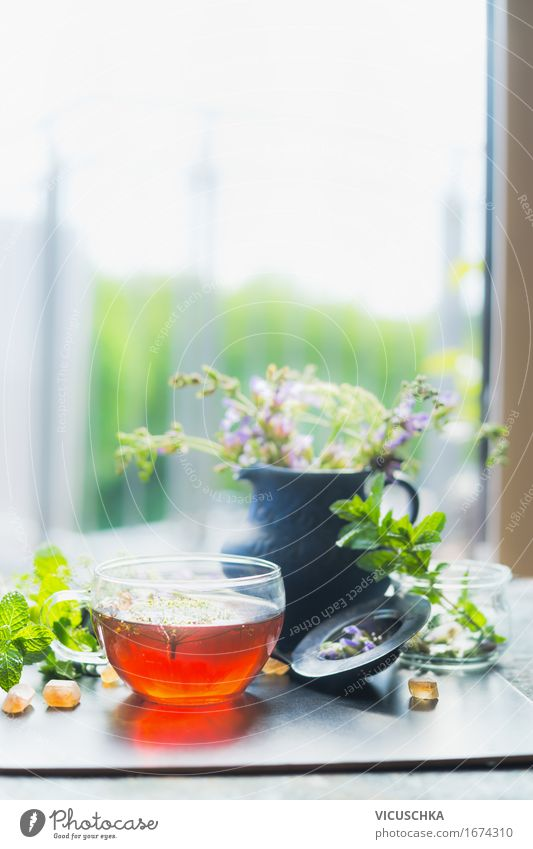 Cup with hot herbal tea at window Beverage Hot drink Tea Style Design Healthy Alternative medicine Healthy Eating Life Summer Living or residing Interior design