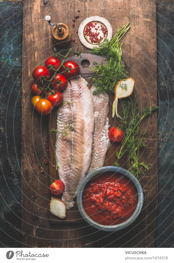Saithe fish fillet with tomatoes and herbs Food Fish Vegetable Herbs and spices Nutrition Lunch Dinner Banquet Organic produce Vegetarian diet Diet Bowl Style