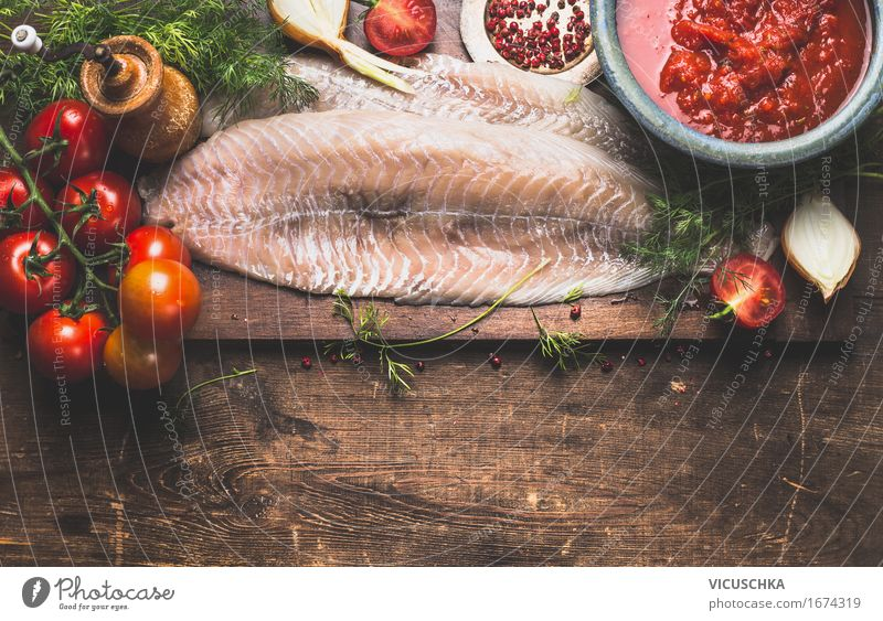 Healthy Eating Life Eating Food photograph Style Food Design Living or residing Nutrition Table Cooking & Baking Herbs and spices Kitchen Fish Vegetable Organic produce