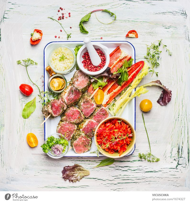 Summer meat skewers with vegetables for grilling Food Meat Vegetable Herbs and spices Nutrition Lunch Banquet Picnic Organic produce Bowl Style Design Life
