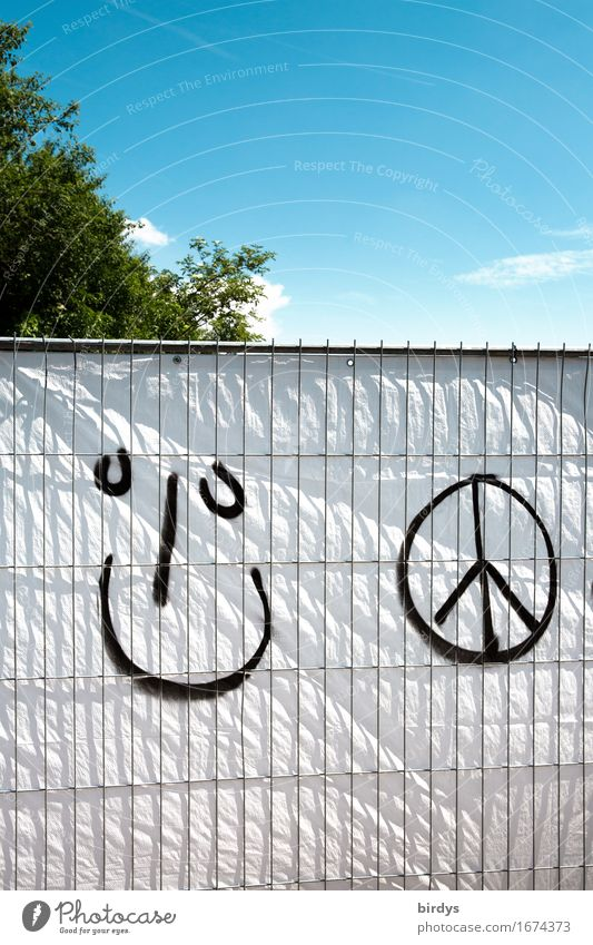 World peace would be nice Lifestyle Youth culture Sky Tree Hoarding Sign Graffiti Peace emoji Facial expression Smiling Laughter Brash Friendliness Happiness