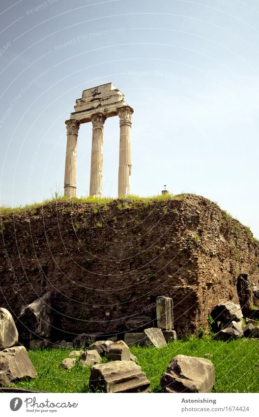 old walls Sculpture Architecture Environment Nature Earth Sand Sky Cloudless sky Summer Weather Beautiful weather Plant Grass Meadow Hill Rock Rome Italy Town