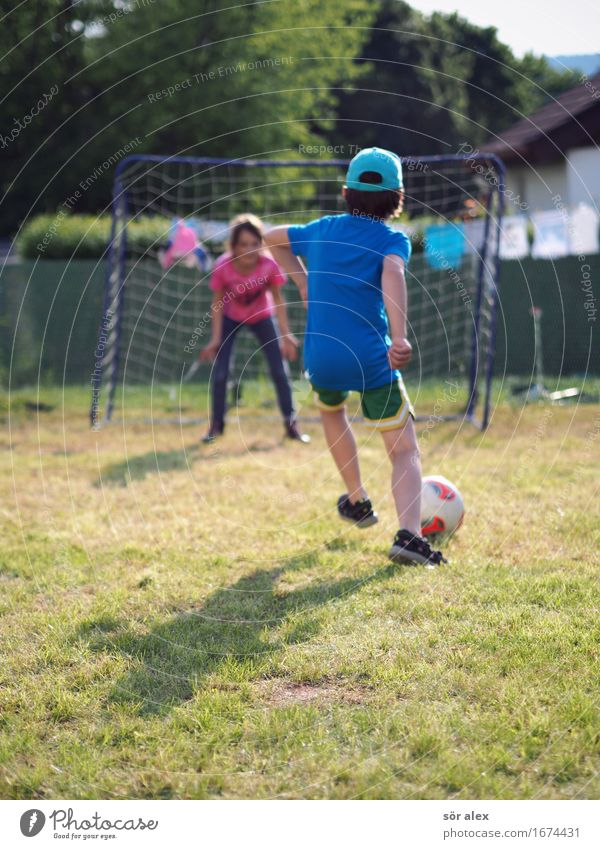 Kids Play Soccer, Boy, Girl, Goal Sports Foot ball Human being Masculine Feminine Child Boy (child) Brothers and sisters Sister Infancy Life 2 3 - 8 years
