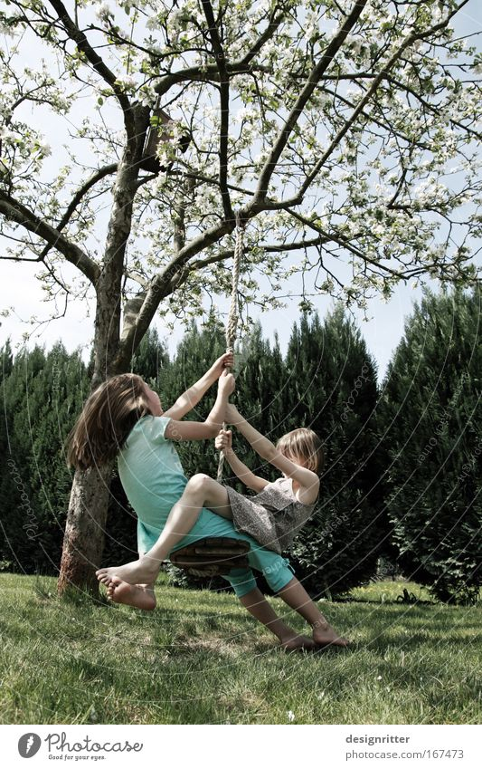 Human being Child Nature Girl Tree Animal Playing Grass Garden Freedom Happy Laughter Dream Family & Relations Friendship