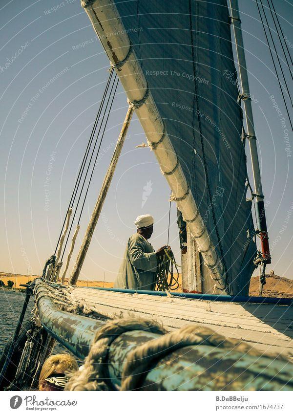 feluccas Vacation & Travel Tourism Trip Far-off places River bank Desert Old Nile Egypt Assuan Feluka Boating trip Sailing Sailboat Colour photo Exterior shot