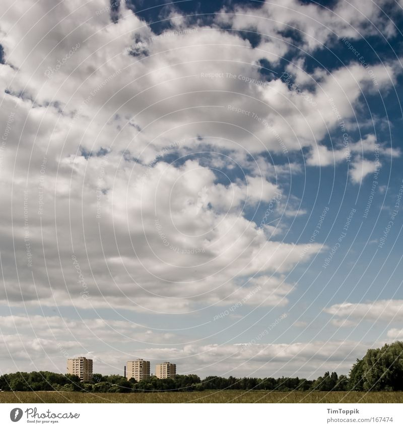 Nature Sky City House (Residential Structure) Clouds Loneliness Far-off places Forest Meadow Building Landscape Field Environment High-rise Gloomy