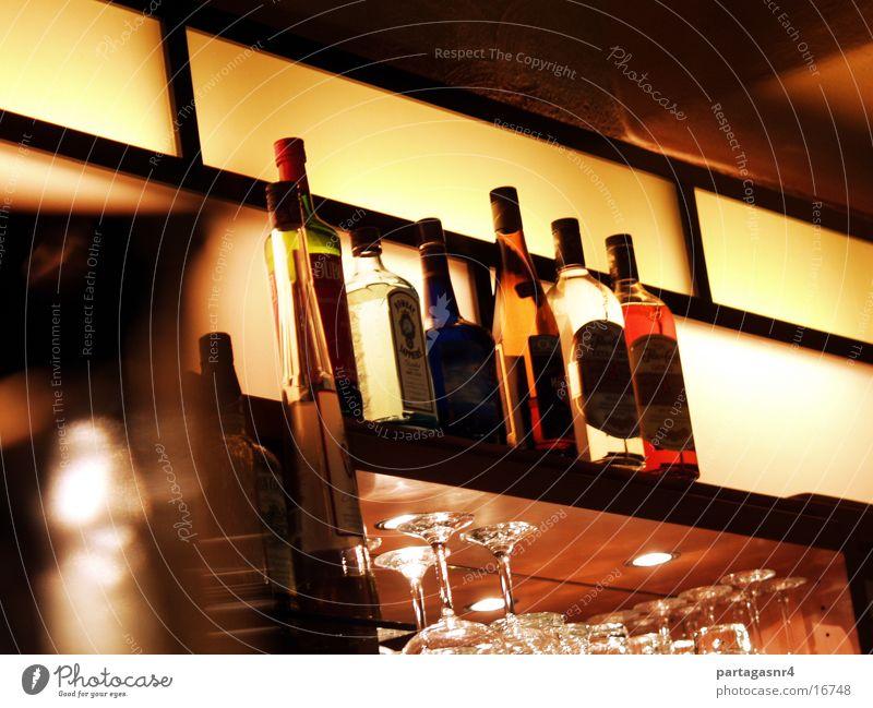 Bottles in the bar Bar Restaurant Beverage Alcoholic drinks Light stylish