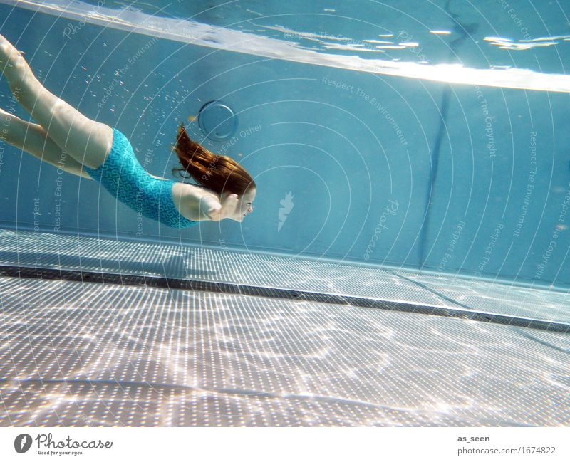 Human being Youth (Young adults) Blue Colour Summer Water Relaxation Warmth Life Emotions Swimming & Bathing Flying Weather Air Beautiful weather Elements