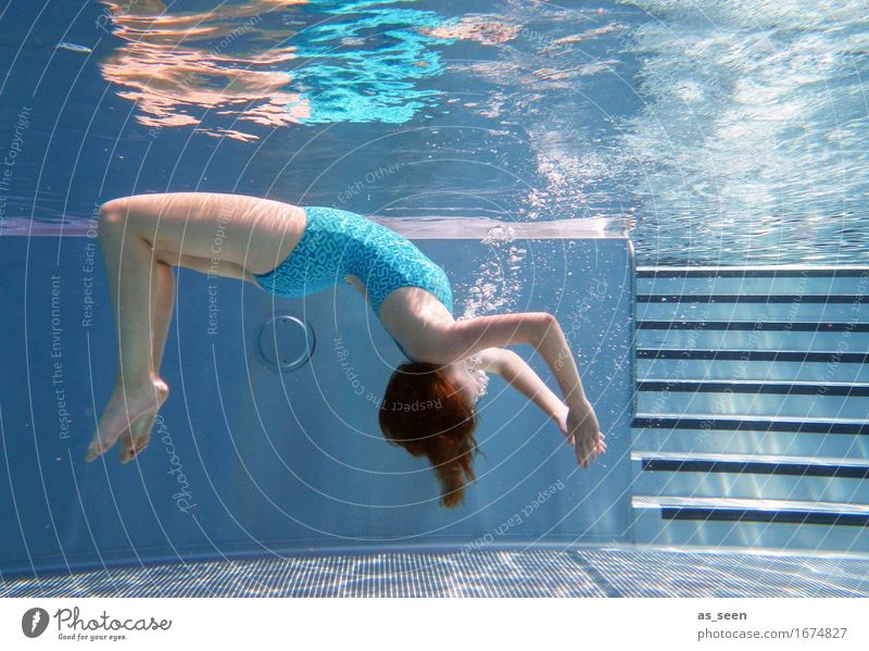 Human being Youth (Young adults) Blue Summer Beautiful Water Relaxation Life Emotions Movement Healthy Swimming & Bathing Elegant 13 - 18 years Body Wellness