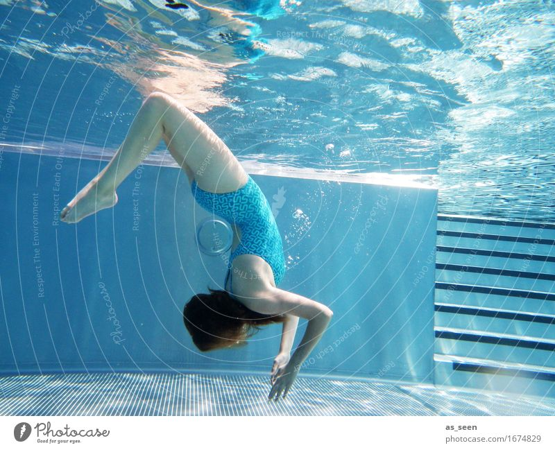 Human being Youth (Young adults) Blue Colour Summer Water Warmth Life Emotions Movement Feminine Swimming & Bathing Dream Air Elegant Fresh