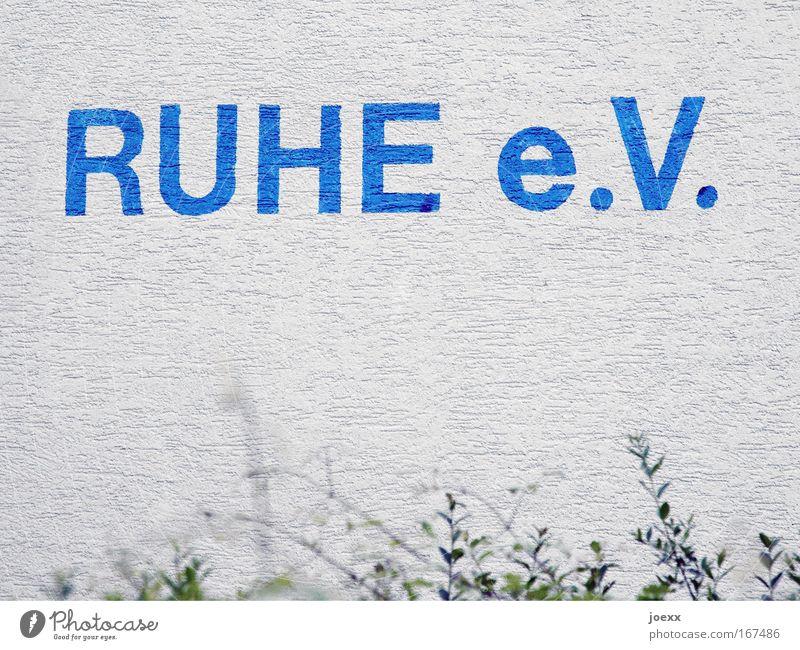 RUHE e.V. Colour photo Subdued colour Copy Space bottom Relaxation Calm Characters Gloomy Blue Gray White e. V. Wall (building) Quiet e.V. Unite Come down rain