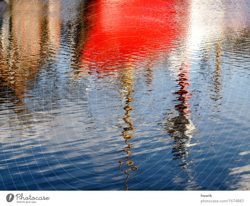 Reflection lightship Emden Surface of water Lightship Emden Exterior shot Red