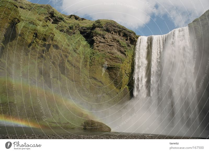 Nature Water Green Vacation & Travel Happy Power Tall Rock River Idyll Iceland Beautiful weather Waterfall Rainbow Impressive Paradisical